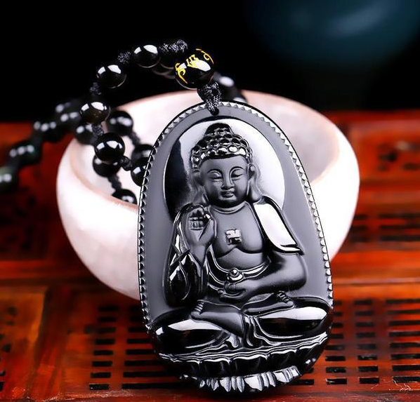 Natural Hand Carved Obsidian Buddha Pendant