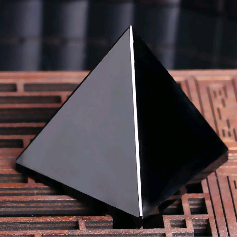 Natural Obsidian Quartz Crystal Pyramid
