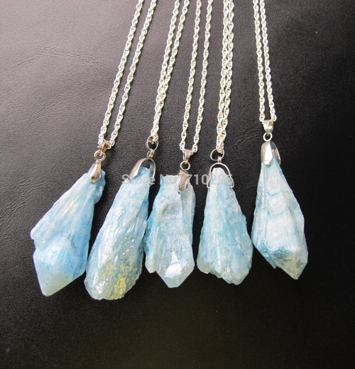 5 Natural Blue Quartz Necklaces