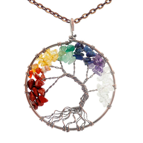 Tree of Life Handmade 7 Chakra Natural Stone Necklace