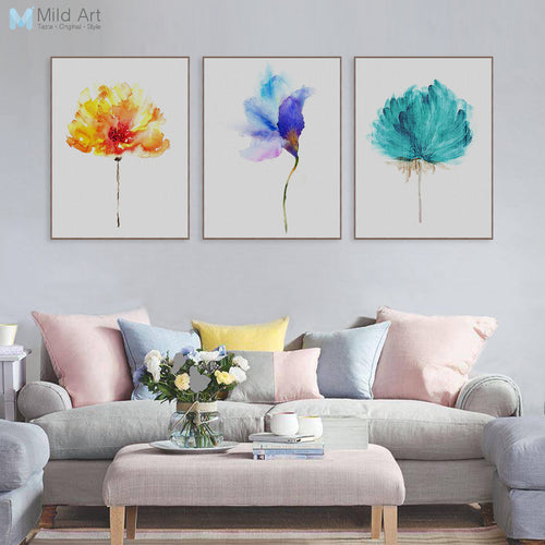 Beautiful Watercolor Flowers On Canvas