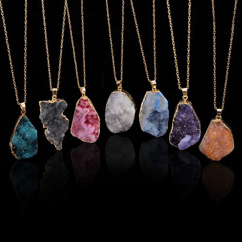 Gold Encased Quartz Crystal Healing Pendant