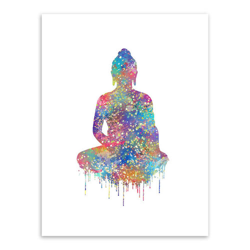 Modern Watercolor Buddha Zen Lotus Poster multiple sizes