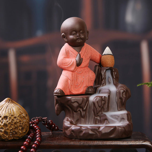 Zen Backflow Incense Burner Kung Fu Buddha Monk