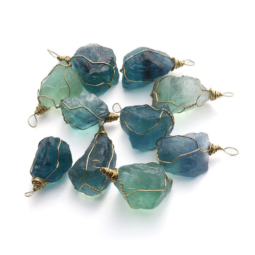 1 PCS 2.5-3cm Natural Blue Fluorite Quartz Crystal Pendant Necklace Stone Healing Gemstone