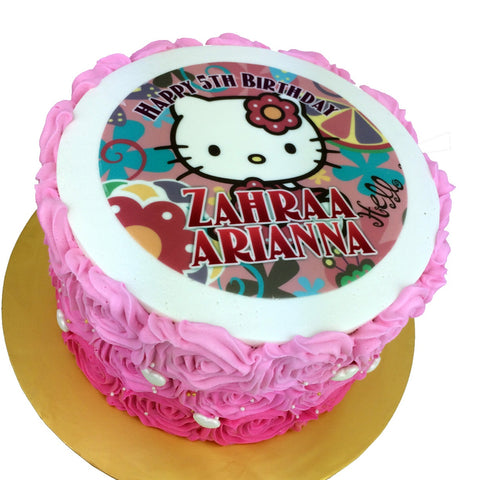 Hello Kitty Pink Roses Cake