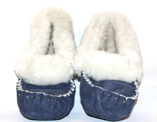 Navy Moccassin Slippers