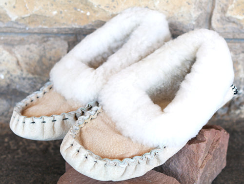 Beige Moccasin Slippers