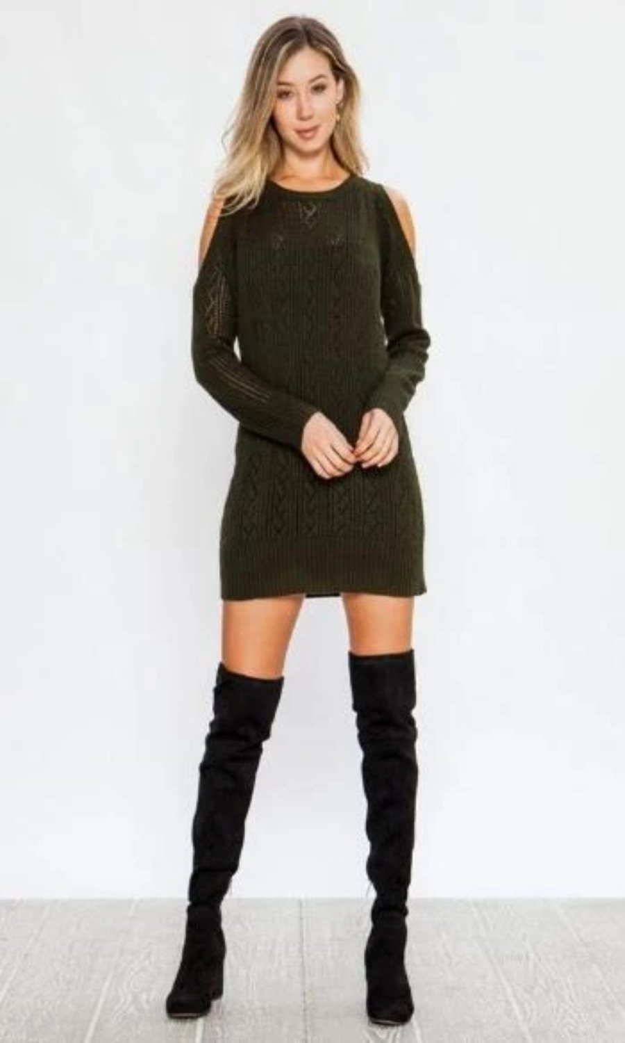 Forest Green Cold Shoulder Sweaterdress