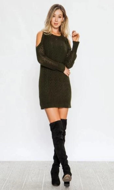 Women's Forest Green Cold Shoulder Sweater Dress