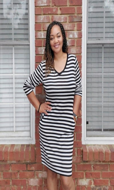 Women's Striped Midi Dress