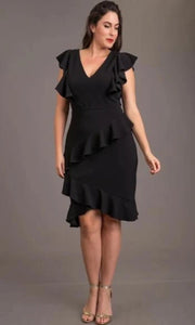 Ruffle V-Neck Dress-Curve