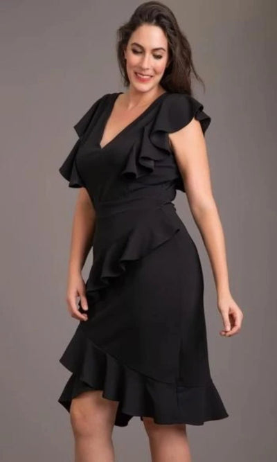 Women's Curve-Ruffle V-Neck Dress