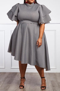 Sassy In Stripes Midi Dress-Curve