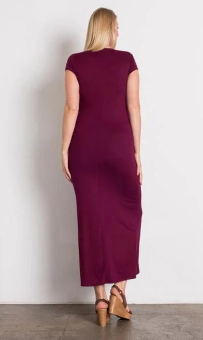 Women's Curve Cap Sleeve Long Maxi Dress