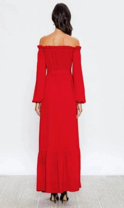 Women's Rosy Red Off the Shoulder Long Maxi Dress