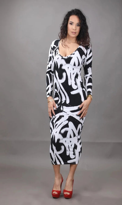 Graffiti Black & White Bodycon Dress (Also Available in Curve)