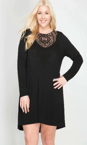Curve Lace Accent LBD (Little Black Dress)