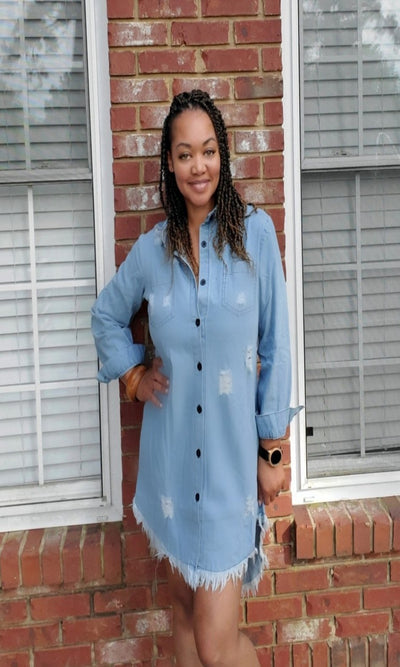Light Wash Denim Shirtdress