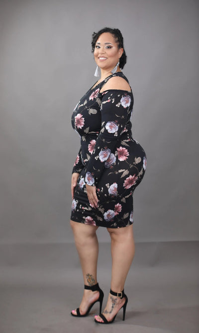 Women's Curve Cold Shoulder Floral Short Dress