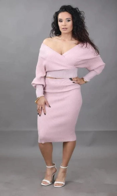 Sexy Rose Pink Skirt Set