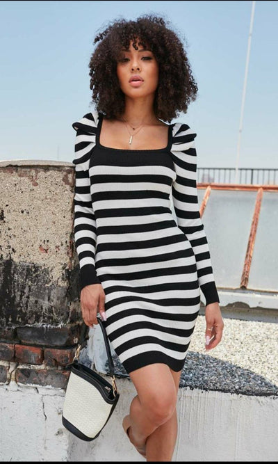 Puffed Shoulder Striped Dress