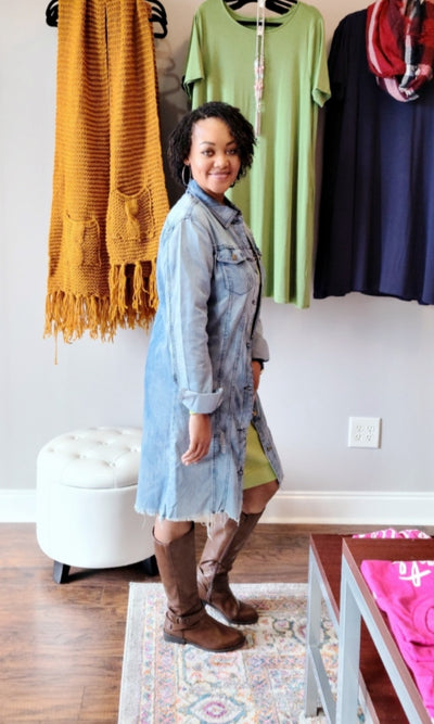 Mid-Denim Duster Dress