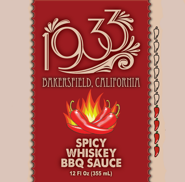 1933 Spicy Whiskey BBQ Sauce, an original recipe BBQ sauce with chile peppers made in USA, image of label