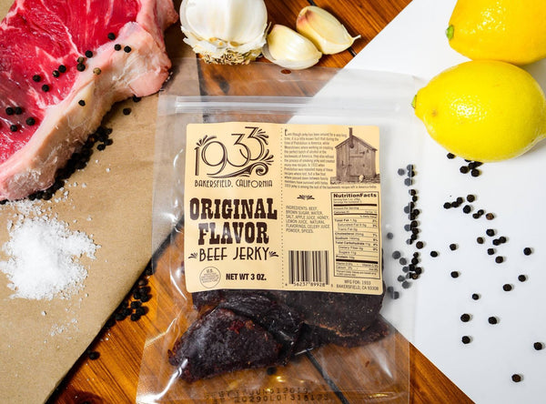 1933 Beef Jerky Original Flavor, beef jerky made in USA at Bakersfield, CA tender jerky, image of packaging and ingredients