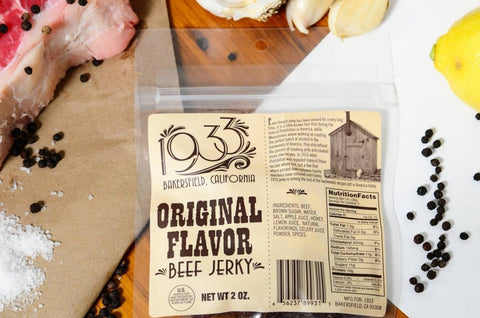 1933 Beef Jerky Original Flavor, made in USA, award winning jerky image with ingredients, description and nutritional facts