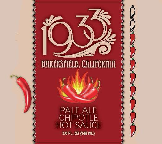 1933 Pale Ale Chipotle Hot Sauce label image, beer chipotle sauce, beer hot sauce, pale ale hot sauce