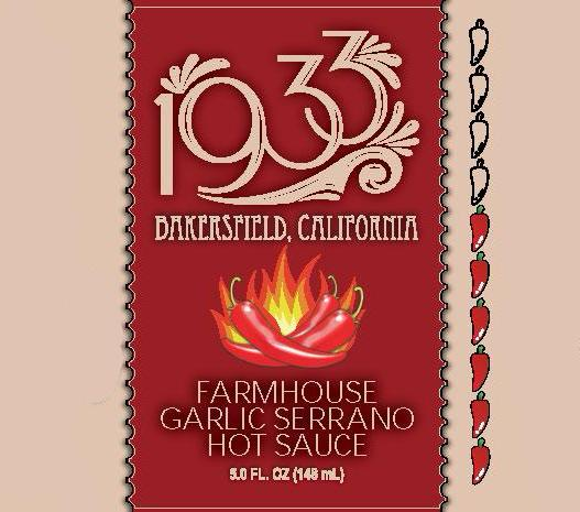 1933 Farmhouse Garlic Serrano Hot Sauce is Farmhouse Ale with Habanero and Serrano chiles, garlic and lime, makes this versatile sauce great on anything you shake it on. A craft hot sauce for the discerning palate. Image of label