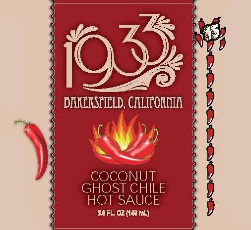 1933 Coconut Ghost Chile Hot Sauce creates a mountain of heat with sweetness on one side and savory deliciousness on the other A craft hot sauce for the discerning palate. Image of label