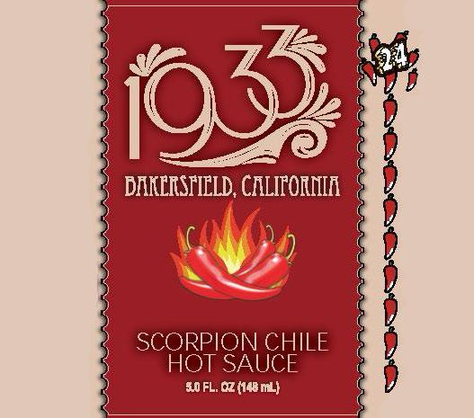 1933 Scorpion Chile Hot Sauce, image of label, the hottest sauce you can eat! Still carrying great flavor, this sauce will melt your face before you even open the bottle. So hot... So delicious