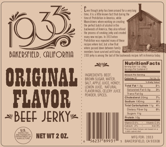 1933 Beef Jerky Original Flavor image, 1933 beef jerky made in USA, original jerky recipe, image of label with ingredients and nutrition facts