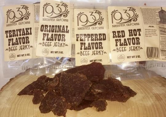 1933 beef jerky sample pack, Made in USA Bakersfield, CA Award winning jerky, image of jerky with ingredients and nutrition facts, all four delicious jerky flavors, Original beef jerky, Teriyaki beed jerky, Peppered beef jerky, and Red Hot beef jerky