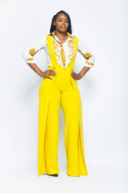 durable modeling reasonably priced on feet shots of WIDE LEG OVERALL JUMPSUIT