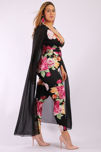 Floral, Sleeveless Jumpsuit