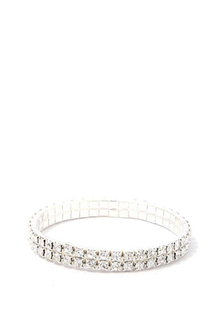 2 Layered Rhinestone Stretch Bracelet