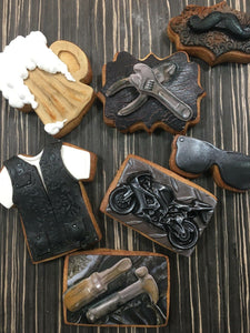 Create Choppers and Aged Leather Cookies For Dad | Art Is In Cakes, Bakery & Supply