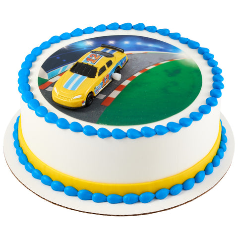 Race car cake with edible image.