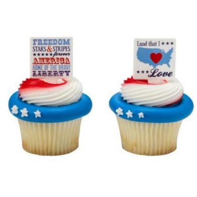 4th of July Patriotic Cupcake Picks and Rings, Assorted - Art Is In Cakes, Bakery & SupplyCupcake PicksRed, White, and Blue