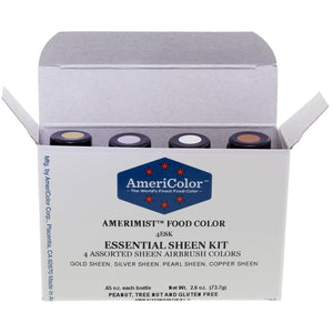 Airbrush Amerimist™ Essential Sheen Kit with 4 Colors .65oz each Food Color by Americolor® - Art Is In Cakes, Bakery & SupplyFood colorDefault Title