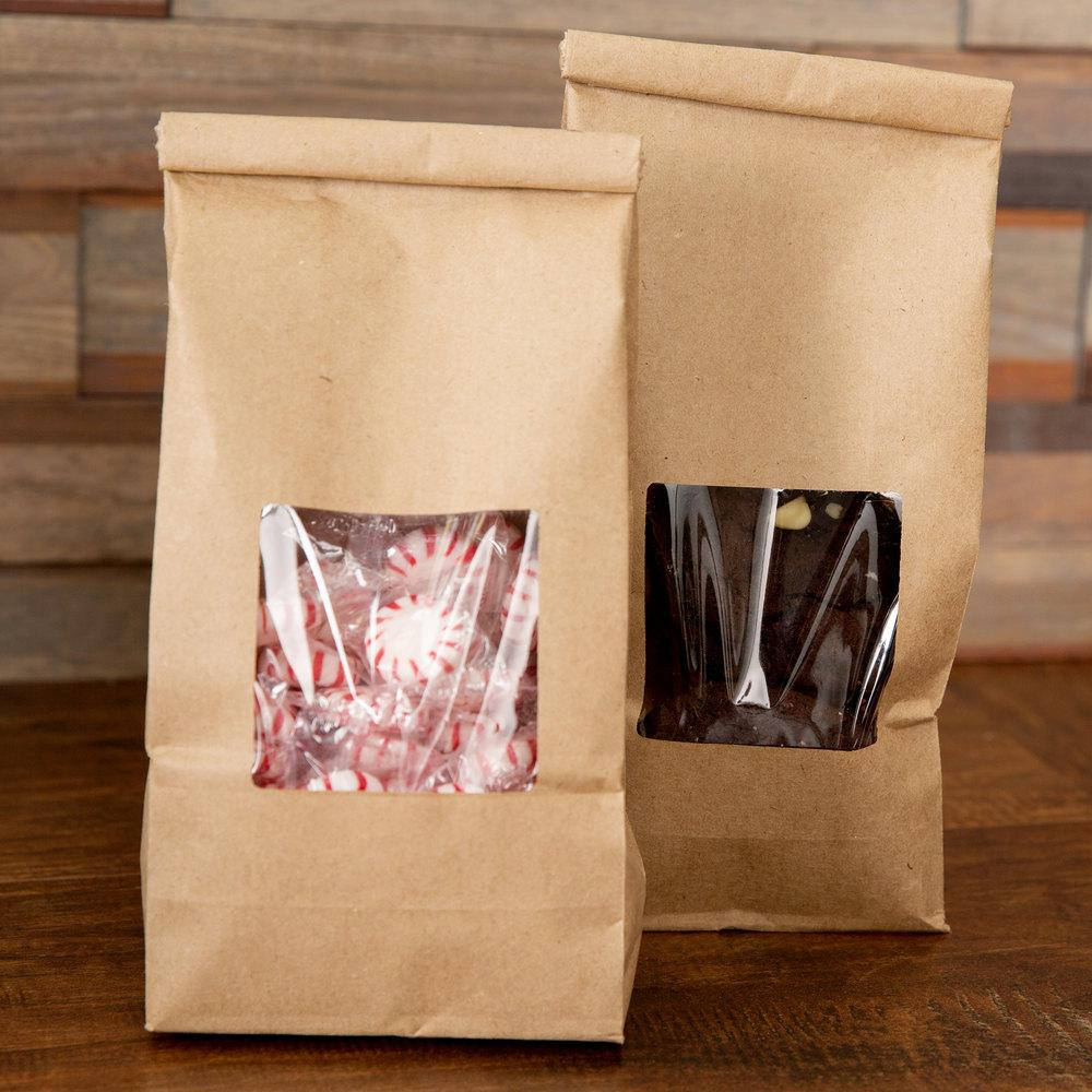 Bags Greaseproof Plastic Lined Kraft Bag With Clear Window And Fold Over Tin Tie Top - Art Is In Cakes, Bakery & SupplyBoxes and BagsKraft 9.75t x 4.25w - single piece