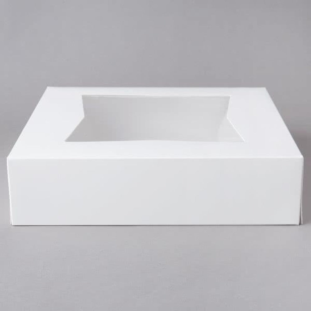 Bakery Box 10 x 10 x 2.5 inch Window Pie Box in White Cardboard - Art Is In Cakes, Bakery & SupplyBoxes and BagsDefault Title