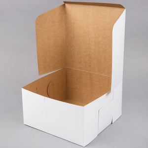 Classic white bakery box with reversible kraft brown interiorfor cookies, pies, and cakes in 10 inch by 10 inch by 15 inch size.
