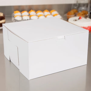 Classic white bakery boxes reversible for kraft brown for cookies, pies, and cakes in 10 inch by 10 inch by 15 inch size fully assembled and closed.