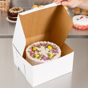 Classic white bakery boxes reversible for kraft brown for safely transporting cakes, cookies, pies, and other treats.