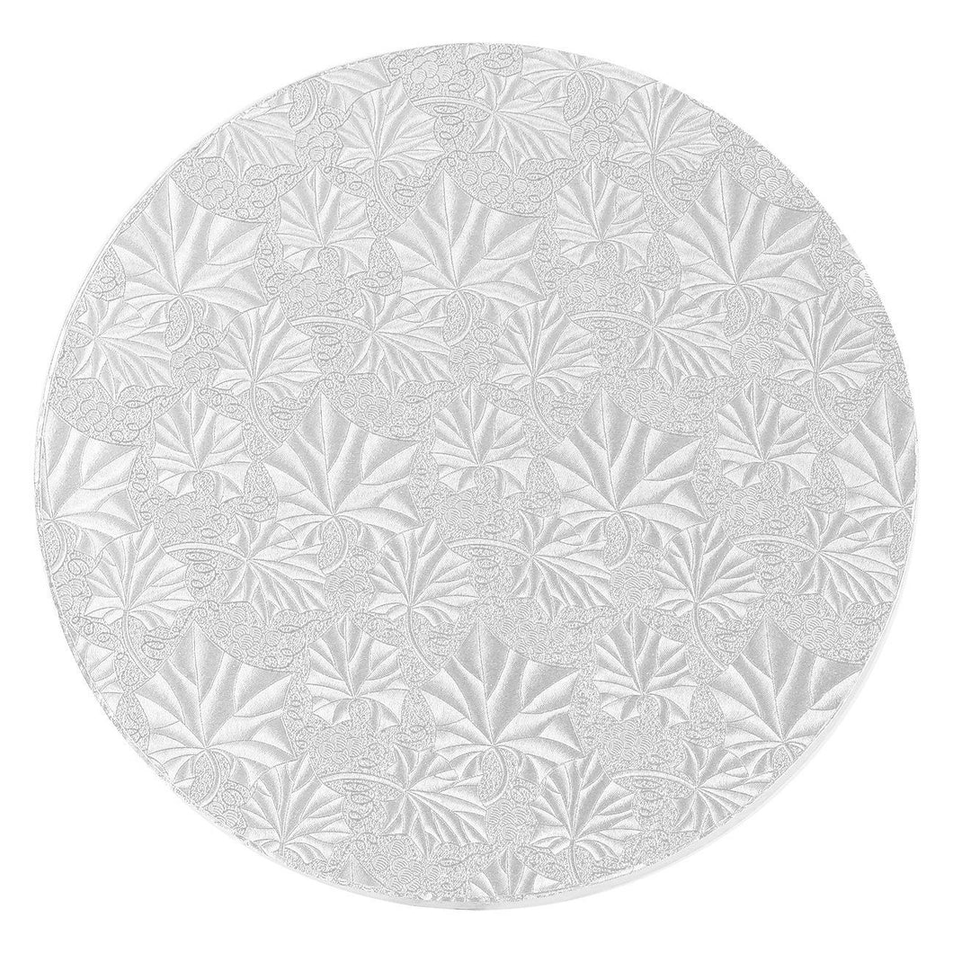 Cake Drum Round Silver Foil 1/2in Thick, Lightly Textured - Art Is In Cakes, Bakery & SupplyCake Boards10