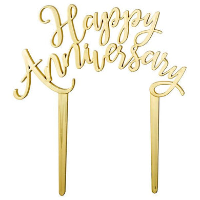 Cake Topper Happy Anniversary in Silver or Gold - Art Is In Cakes, Bakery & SupplyThemed CakesGold